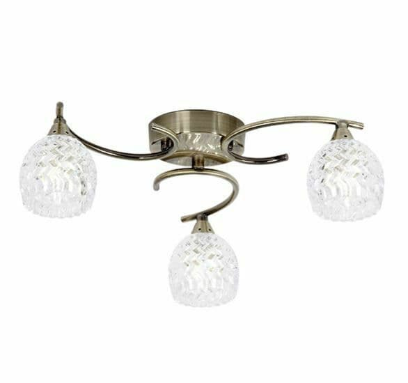 Boyer 3 light semi flush curved metal arm antique brass finish & cut glass shade